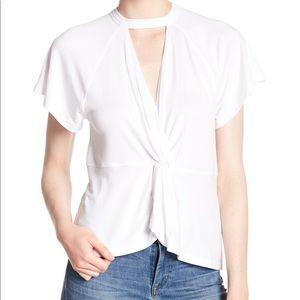 FREE PEOPLE JUST A TWIST TEE IN WHITE WORN ONCE